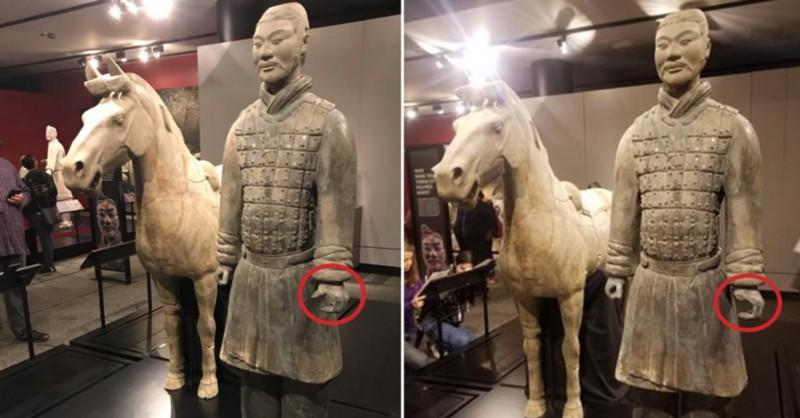美박물관에 대여된 진시황 '병마용' 손가락 도둑맞아