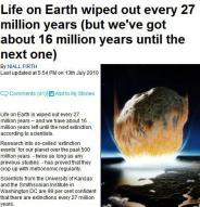지구생명체 2700만년 주기로 멸종한다?
