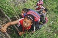 암벽 넝쿨사다리 타고 학교 다니는 中 '절벽마을' 아이들