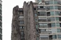 中 상하이 아파트 곁 14층 높이 '짝퉁 산'…왜?
