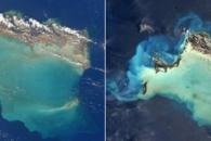 우주에서 본 허리케인 어마 전후의 카리브해 섬